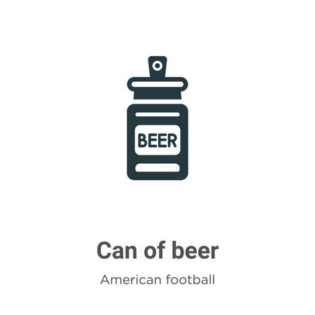 Can of beer vector icon on white background. Flat vector can of beer icon symbol sign from modern american football collection for mobile concept and web apps design.
