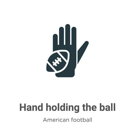 Hand holding the ball vector icon on white background. Flat vector hand holding the ball icon symbol sign from modern american football collection for mobile concept and web apps design.