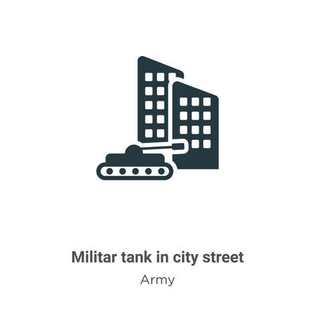 Militar tank in city street vector icon on white background. Flat vector militar tank in city street icon symbol sign from modern army collection for mobile concept and web apps design.