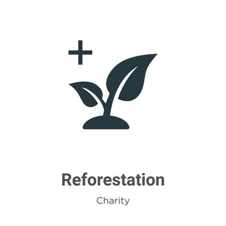 Reforestation vector icon on white background. Flat vector reforestation icon symbol sign from modern charity collection for mobile concept and web apps design.