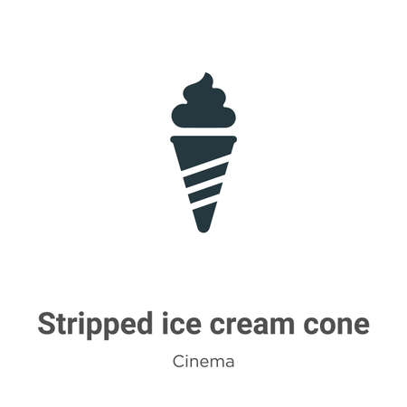 Stripped ice cream cone vector icon on white background. Flat vector stripped ice cream cone icon symbol sign from modern cinema collection for mobile concept and web apps design.