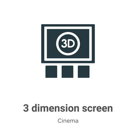 3 dimension screen vector icon on white background. Flat vector 3 dimension screen icon symbol sign from modern cinema collection for mobile concept and web apps design.