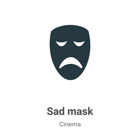 Sad mask vector icon on white background. Flat vector sad mask icon symbol sign from modern cinema collection for mobile concept and web apps design.