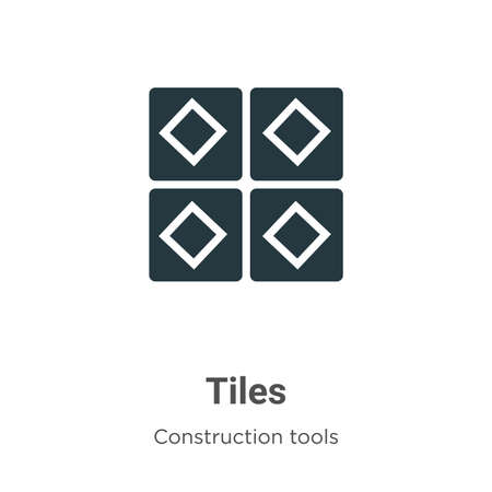 Tiles vector icon on white background. Flat vector tiles icon symbol sign from modern construction tools collection for mobile concept and web apps design.