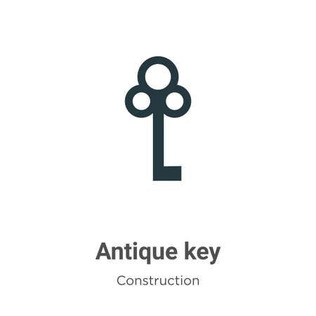 Antique key vector icon on white background. Flat vector antique key icon symbol sign from modern tools collection for mobile concept and web apps design.