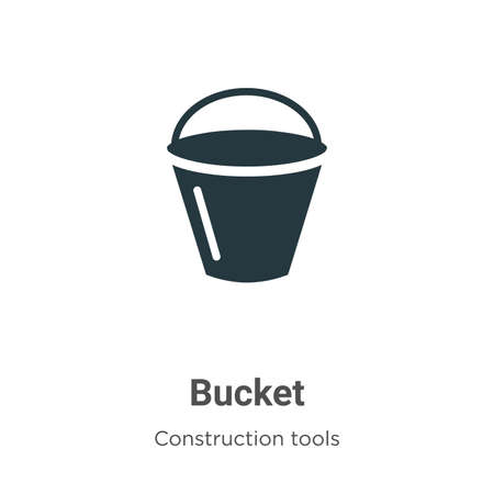 Bucket vector icon on white background. Flat vector bucket icon symbol sign from modern construction tools collection for mobile concept and web apps design.