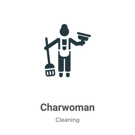 Charwoman vector icon on white background. Flat vector charwoman icon symbol sign from modern cleaning collection for mobile concept and web apps design.