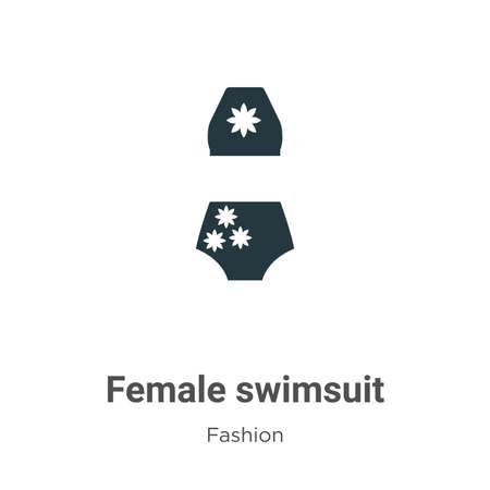 Female swimsuit vector icon on white background. Flat vector female swimsuit icon symbol sign from modern fashion collection for mobile concept and web apps design.