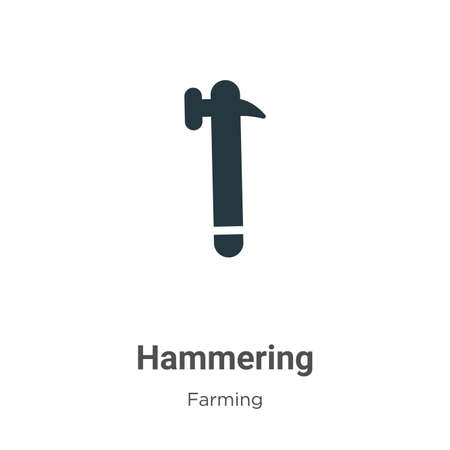 Hammering vector icon on white background. Flat vector hammering icon symbol sign from modern gardening collection for mobile concept and web apps design.