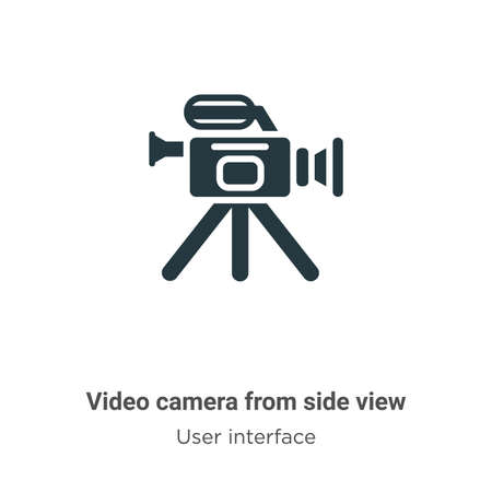 Video camera from side view vector icon on white background. Flat vector video camera from side view icon symbol sign from modern user interface collection for mobile concept and web apps design. Ilustración de vector