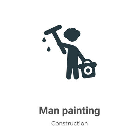 Man painting vector icon on white background. Flat vector man painting icon symbol sign from modern construction collection for mobile concept and web apps design.