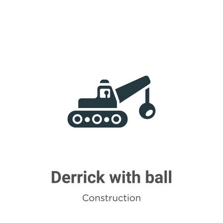 Derrick with ball vector icon on white background. Flat vector derrick with ball icon symbol sign from modern construction collection for mobile concept and web apps design. Ilustracja