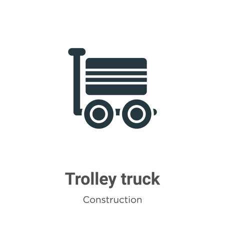 Trolley truck vector icon on white background. Flat vector trolley truck icon symbol sign from modern construction collection for mobile concept and web apps design. Stock Illustratie