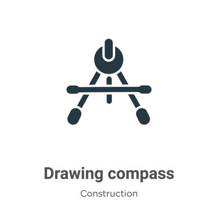 Drawing compass vector icon on white background. Flat vector drawing compass icon symbol sign from modern construction collection for mobile concept and web apps design.