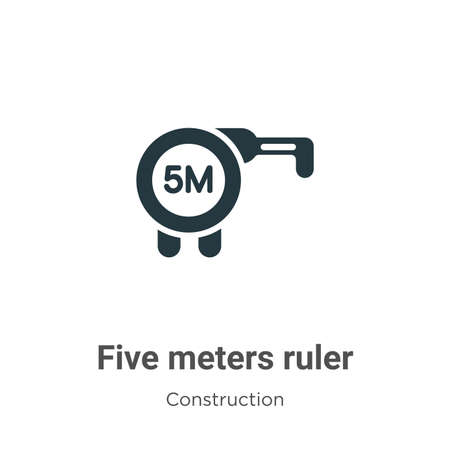 Five meters ruler vector icon on white background. Flat vector five meters ruler icon symbol sign from modern construction collection for mobile concept and web apps design.