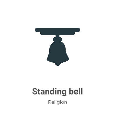 Standing bell vector icon on white background. Flat vector standing bell icon symbol sign from modern religion collection for mobile concept and web apps design.