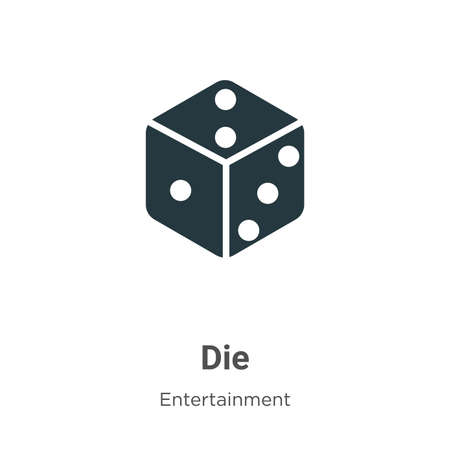 Die vector icon on white background. Flat vector die icon symbol sign from modern entertainment collection for mobile concept and web apps design.