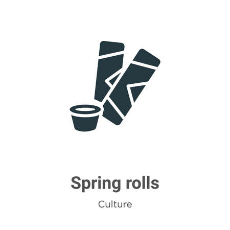 Spring rolls vector icon on white background. Flat vector spring rolls icon symbol sign from modern culture collection for mobile concept and web apps design. Vetores