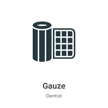 Gauze vector icon on white background. Flat vector gauze icon symbol sign from modern dentist collection for mobile concept and web apps design. Ilustracja