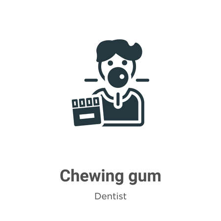 Chewing gum vector icon on white background. Flat vector chewing gum icon symbol sign from modern dentist collection for mobile concept and web apps design.