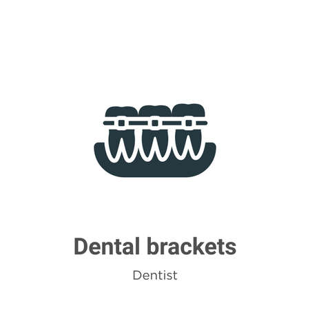 Dental brackets vector icon on white background. Flat vector dental brackets icon symbol sign from modern dentist collection for mobile concept and web apps design.