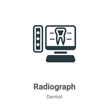 Radiograph vector icon on white background. Flat vector radiograph icon symbol sign from modern dentist collection for mobile concept and web apps design. Illustration