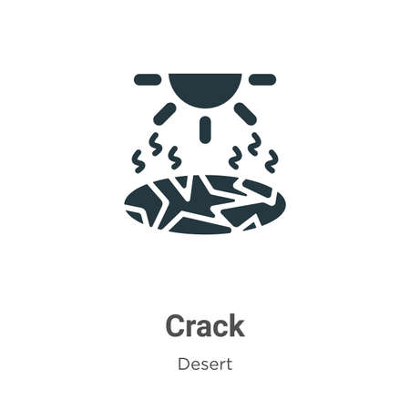 Crack vector icon on white background. Flat vector crack icon symbol sign from modern desert collection for mobile concept and web apps design. Ilustracja