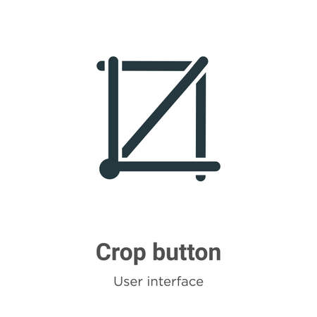 Crop button vector icon on white background. Flat vector crop button icon symbol sign from modern user interface collection for mobile concept and web apps design.
