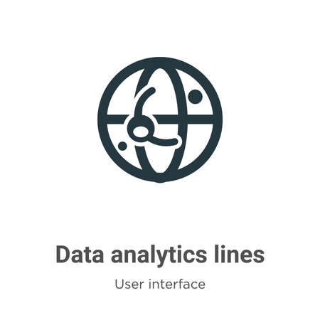 Data analytics lines on spherical grid vector icon on white background. Flat vector data analytics lines on spherical grid icon symbol sign from modern user interface collection for mobile concept and Çizim