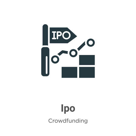 Ipo vector icon on white background. Flat vector ipo icon symbol sign from modern crowdfunding collection for mobile concept and web apps design.