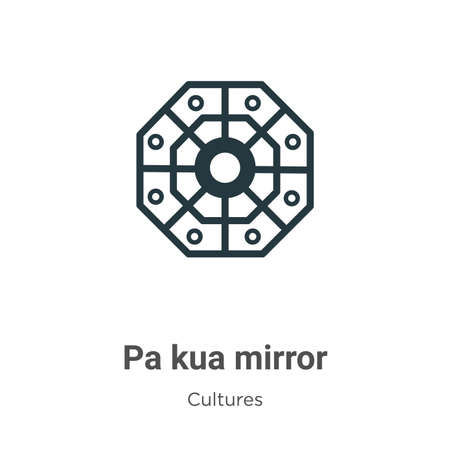 Pa kua mirror vector icon on white background. Flat vector pa kua mirror icon symbol sign from modern cultures collection for mobile concept and web apps design.  イラスト・ベクター素材