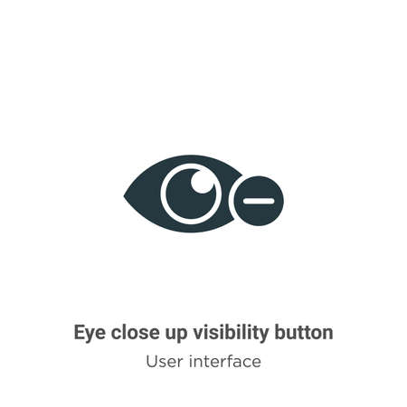 Eye close up visibility button vector icon on white background. Flat vector eye close up visibility button icon symbol sign from modern user interface collection for mobile concept and web apps