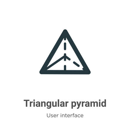 Triangular pyramid vector icon on white background. Flat vector triangular pyramid icon symbol sign from modern user interface collection for mobile concept and web apps design.