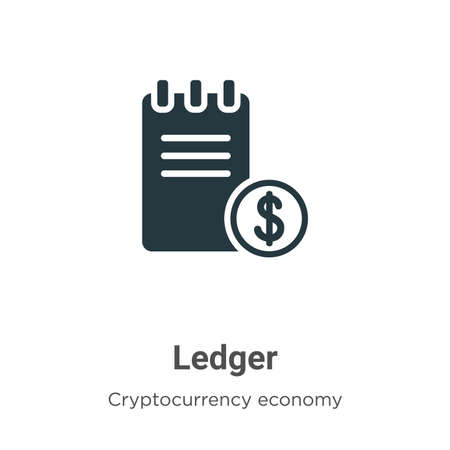 Ledger vector icon on white background. Flat vector ledger icon symbol sign from modern cryptocurrency economy and finance collection for mobile concept and web apps design.