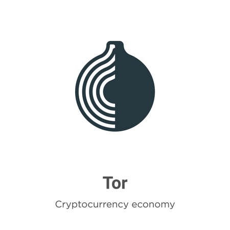 Tor vector icon on white background. Flat vector tor icon symbol sign from modern blockchain collection for mobile concept and web apps design. Ilustração