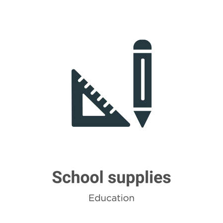 School supplies vector icon on white background. Flat vector school supplies icon symbol sign from modern education collection for mobile concept and web apps design.