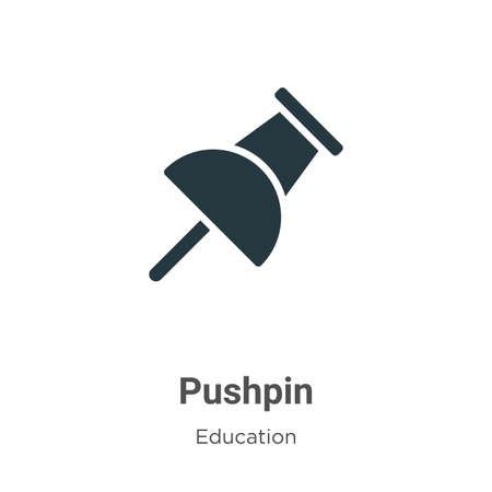 Pushpin vector icon on white background. Flat vector pushpin icon symbol sign from modern education collection for mobile concept and web apps design.