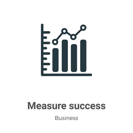 Measure success vector icon on white background. Flat vector measure success icon symbol sign from modern business collection for mobile concept and web apps design.
