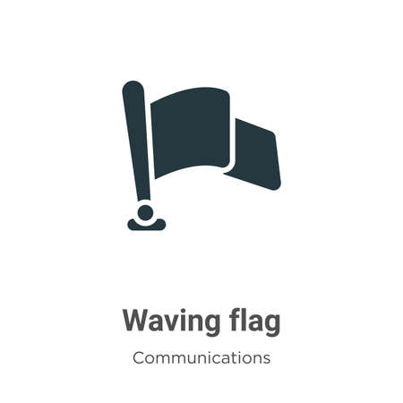 Waving flag vector icon on white background. Flat vector waving flag icon symbol sign from modern communications collection for mobile concept and web apps design. Ilustracja