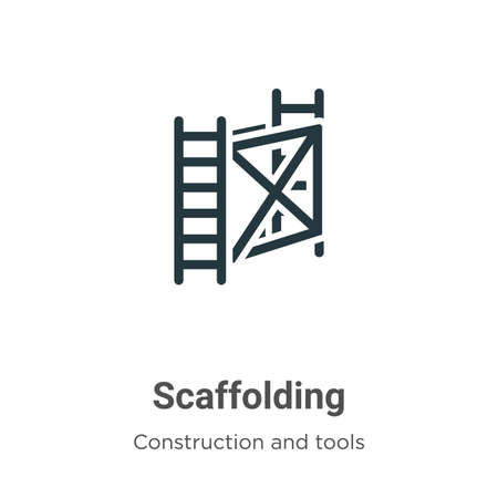 Scaffolding vector icon on white background. Flat vector scaffolding icon symbol sign from modern construction and tools collection for mobile concept and web apps design. Ilustração Vetorial