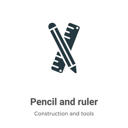 Pencil and ruler vector icon on white background. Flat vector pencil and ruler icon symbol sign from modern construction and tools collection for mobile concept and web apps design.
