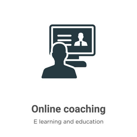 Online coaching vector icon on white background. Flat vector online coaching icon symbol sign from modern e learning and education collection for mobile concept and web apps design.