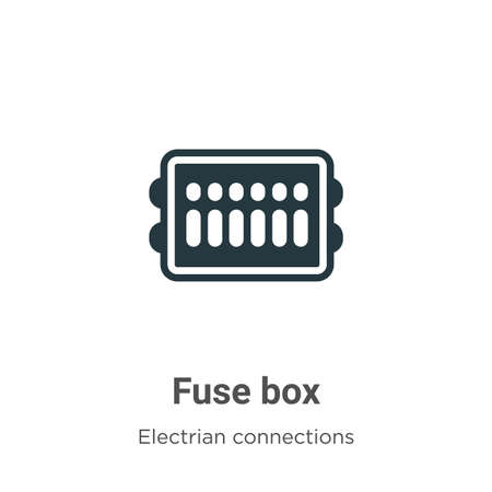 Fuse box vector icon on white background. Flat vector fuse box icon symbol sign from modern electrian connections collection for mobile concept and web apps design.
