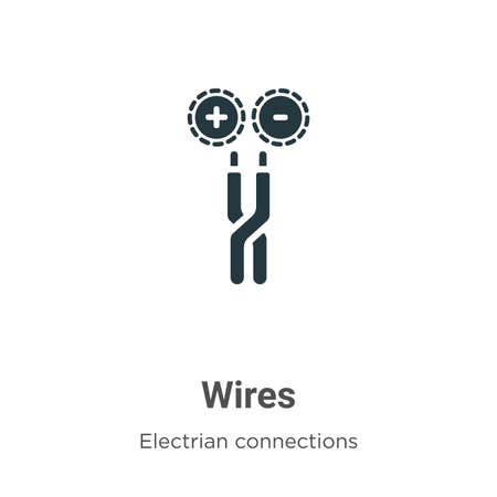 Wires vector icon on white background. Flat vector wires icon symbol sign from modern electrian connections collection for mobile concept and web apps design.