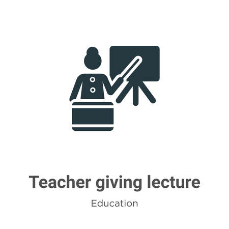 Teacher giving lecture vector icon on white background. Flat vector teacher giving lecture icon symbol sign from modern education collection for mobile concept and web apps design.