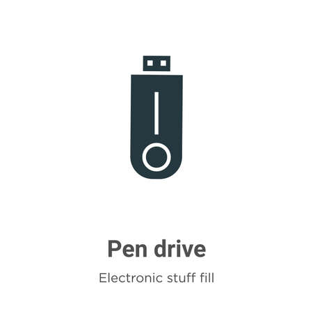 Pen drive vector icon on white background. Flat vector pen drive icon symbol sign from modern electronic stuff fill collection for mobile concept and web apps design. Çizim