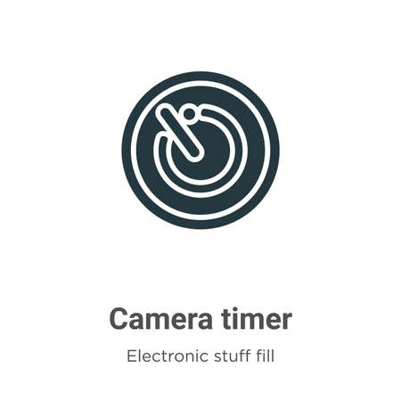 Camera timer vector icon on white background. Flat vector camera timer icon symbol sign from modern electronic stuff fill collection for mobile concept and web apps design.