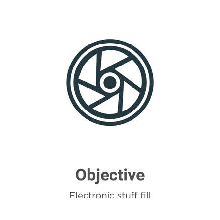 Objective vector icon on white background. Flat vector objective icon symbol sign from modern electronic stuff fill collection for mobile concept and web apps design.