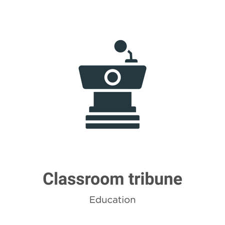 Classroom tribune vector icon on white background. Flat vector classroom tribune icon symbol sign from modern education collection for mobile concept and web apps design. Stock Illustratie