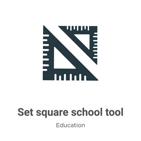 Set square school tool vector icon on white background. Flat vector set square school tool icon symbol sign from modern education collection for mobile concept and web apps design.